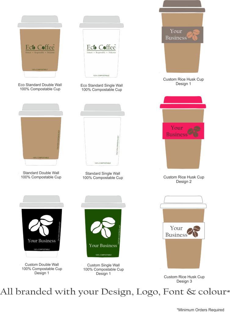 Eco Coffee Compostable Cups Rice Husk Cups